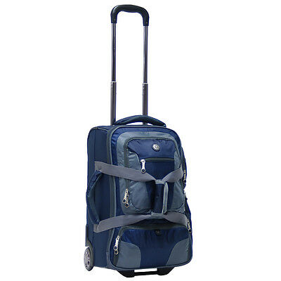 "20"" Rolling Carry on Luggage Wheeled Duffel Bag Backpack Travel Suitcase - Blue"