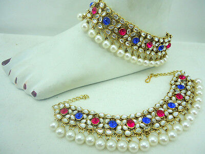Hot Pink Blue Crystal Kundan Pearl Gold Tone Bollywood Bridal Anklet Jewelry