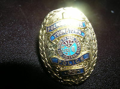 "ARIZONA Youngtown  POLICE OFFICER Gold Tone 1""  Mini  Badge PIN Tie Tac"