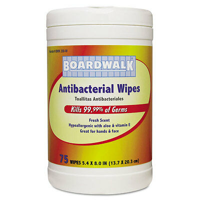 Antibacterial Wipes, 8 x 5 2/5, Fresh Scent, 75/Canister