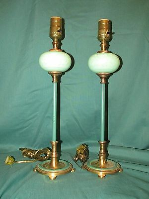 Pair Old or Antique Bodior Lamps with Green Etched Cameo Art Glass Fonts