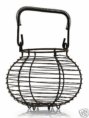 Kilo Rustic Garlic Egg Basket Carrier Store Brown Wire Round BA98