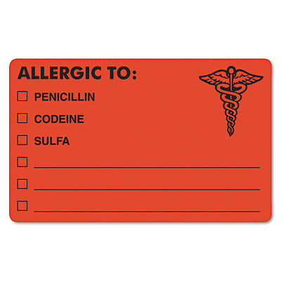 Drug Allergy Medical Warning Labels, 2-1/2 x 4, Orange, 100/Roll