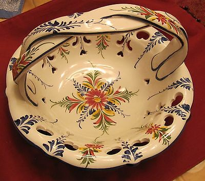 Hand Painted RCCL Portugal Bowl Basket Braided Handle - Flowers Heart Lattice