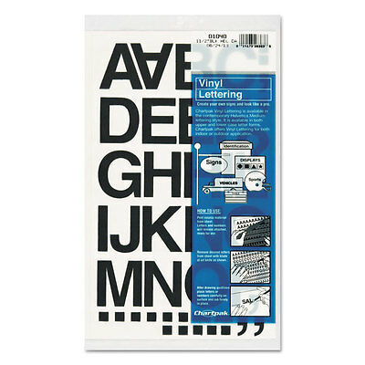 Press-On Vinyl Letters & Numbers, Self Adhesive, Black, 1 1/2''h, 37/Pack