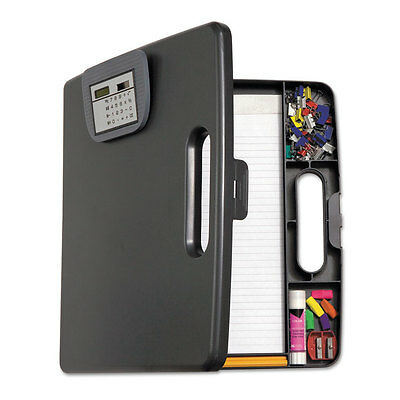 Portable Storage Clipboard Case w/Calculator, 12w x 13 1/10h, Charcoal