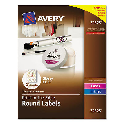 Round Print-to-the-Edge Labels, 2'' dia, Glossy Clear, 120/Pack