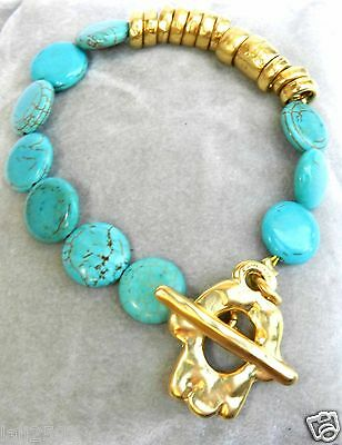 Vtg Turquoise Gemstone & Gold T Bar Bracelet Decorated With Hamsa Charms