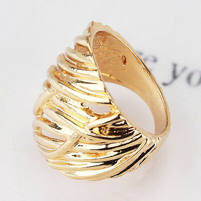 New Women Men Yellow Environmental 14k Gold Plated Size 8.5 Ring Jewelry CB0983
