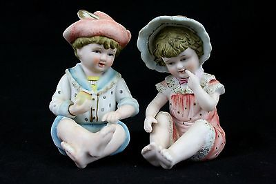 Piano Baby Bisque Andrea by Sadek Figurine Doll Vintage Hand Painted 2 pc