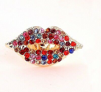 Free Shipping! Size 8 Womens 9K Yellow Gold Filled AAA CZ Sexy Lip Ring E-H511