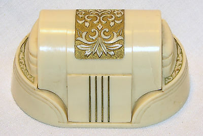 Vintage 1930-40's W & S New York - Art Deco Celluloid Double Ring Box  W&S