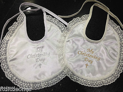 Baby Girls Satin Bib With Lace Frill,white Or Ivory/cream,my Christening Day