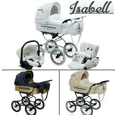 Isabell Leather Baby Retro Classic Pram Travel System + Car Seat Optional