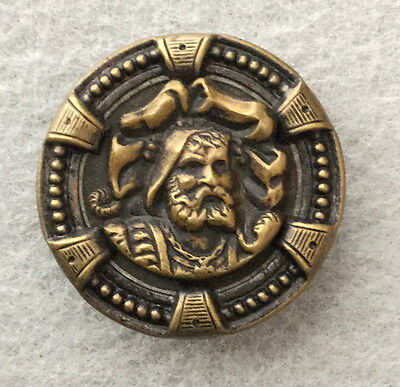 Antique Old Picture Button William Tell Stamped Brass
