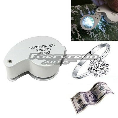 Silver 40X 25mm Glass Magnifying Magnifier Jeweler Eye Jewelry Loupe Led Light