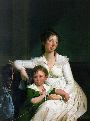 Oil painting Juel Jens Danish - Portrait of a Noblewoman with her Son on canvas