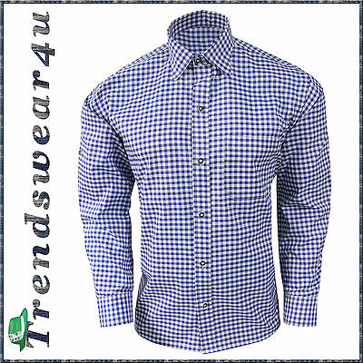New German Bavarian Oktoberfest Lederhosen Men's Trachten Blue Checkered Shirt