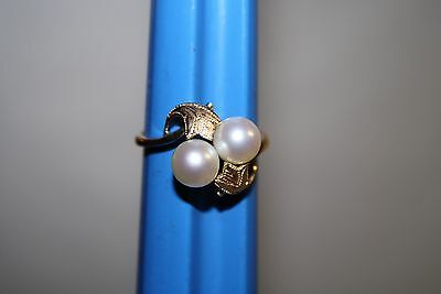 Antique Estate Find 14k Gold Ring with 2 7mm Pearls Recent Appraisal Size 8 3/4
