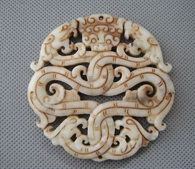Old China white Jade hand-carved dragon Amulet Pendants #11
