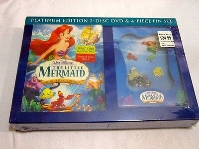 The Little Mermaid (DVD, 2006, 2-Disc Set, Platinum Edition & 4 Piece pin set