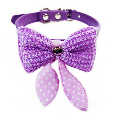Dog Cat Pet Fashion Bow Collar,PU Leather Collar ,Purple Small Size 10-13""