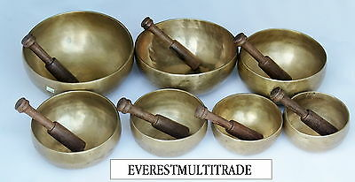 Nepalese Hand Made Set Of 7 Chakra Meditation Singing Bowl