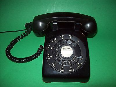 Vtg BLACK Rotary Metal Dial Desk Phone Bell Western Electric Md: C/D500 12/1955