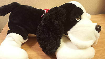 "Cute White Black Dog Red Bow Plush Stuffed Animal by RUSS Lovington 16""L x 16""W"