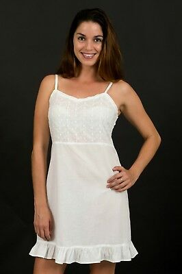 Anna Broderie Anglaise Cotton Chemise, nightie - White Size S - 2XL