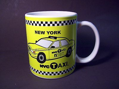 NEW YORK CITY TAXI COFFEE MUG cab driver drinking TEA cup CHECKERED licensed