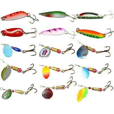 15PCS Lots Assorted Metal Spoon Spinner Fishing Lures Bait Salmon Bass Hook A