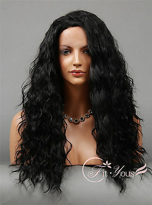 Wigs for women 1B Off Black Long Lace Front wigs Hot Sale Curly Wavy Full Wigs