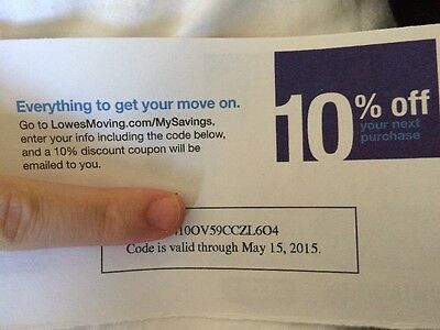 (1) Lowes 10% off-Coupon CODE ONLY  Cards Lowes Read Descript Expire 05/15/2015