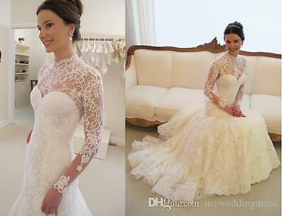 2015 Lace White/Ivory Mermaid wedding Dress Bridal Gown Custom Made