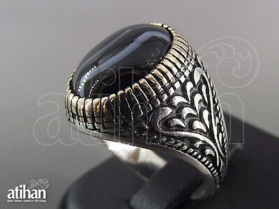 925 STERLING SILVER MEN'S AGATE RING US SIZE 8 TO 11.5 TURKISH HANDWORK (04790)