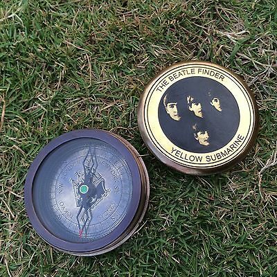 """VINTAGE STYLE 2"""" BRASS MADE THE BEATLE FINDER YELLOW SUBMARINE  COMPASS"""