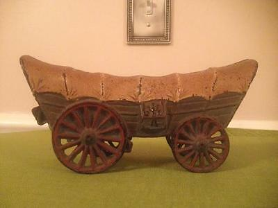 Antique Painted Covered Wagon  Rare Cast Iron Heavy Toy (Doorstop?)~ OLD