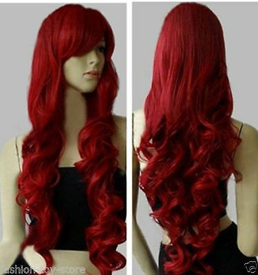 "32"" Long Heat Resistant Big Spiral Curl Dark Red Cosplay Wig 80cm"