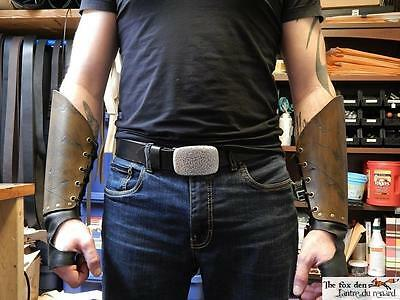 Gladiator spartacus leather bracer with hand protection and battle damage! LARP