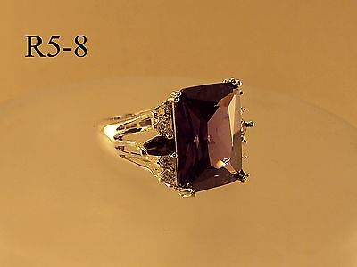 Extravagant Amethyst Simulant and CZ Sterling Silver Gemstone Cocktail Ring Sz8