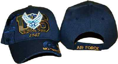 Embroidered Air Force Wings 1947 Shadow Navy Blue Baseball Style Cap Hat