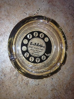 VINTAGE ROUTH ROBBINS  REAL ESTATE PRINCE GEORGES CO. Glass Ashtray Dish 1960s