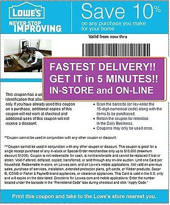 One (1) Lowes 10% Off Coupons * 5/7/2015 PRINTABLE! Email Fast. GUARANTEED!!