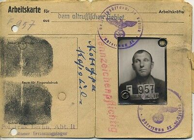 WWII. The working card 1944. Berlin. The citizen of the Soviet Union USSR