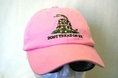 Embroidered washed style Pink Gadsden Tea Party dont tread on me Hat Cap