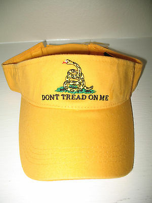 (new) Embroidered Gadsden Tea Party No Obama Dont Tread on me Yellow Visor hat