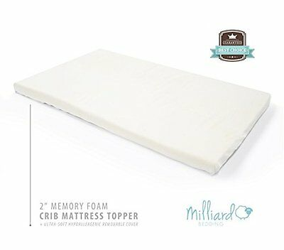 Milliard 2-Inch Ventilated Memory Foam Crib/Toddler Bed Mattress Topper with Rem