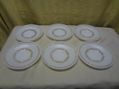 "6pc Vintage FEDERAL 22kt Gold  Milk Glass Golden Harvest 5.75"" Saucer Plate Set"