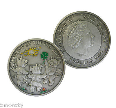 2006 Niue Year of THE PIG The Piglets Silver Coin Chinese $1 + FREE GIFT